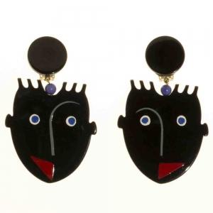 boucles d oreilles africains cubique noir