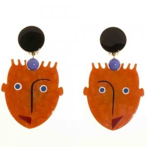 boucles d oreilles africains cubique roux