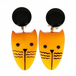 boucles d oreilles chat eiffel jaune 0000
