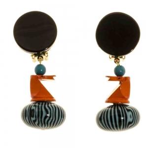 boucles d oreilles cheval orange et turquoise
