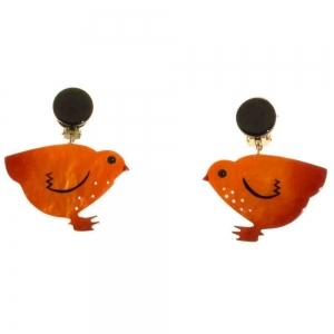 boucles d oreilles poule orange