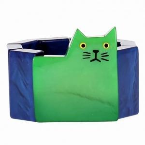 bracelet chat carre vert et bleu