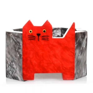 bracelet chat profil rouge et gris