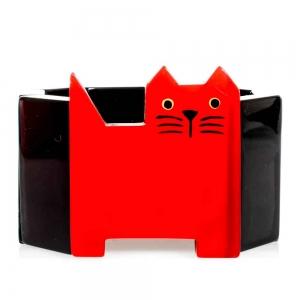 bracelet chat profil rouge et noir