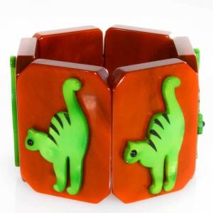 bracelet chat tigre vert roux