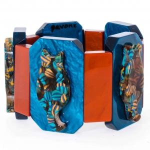 bracelet chaton ecossais sur turquoise