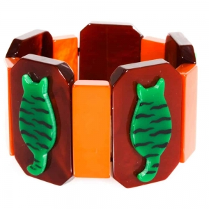 bracelet chaton tigre vert sur bordeau