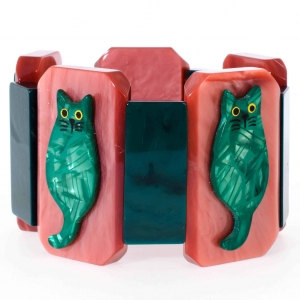 bracelet chaton vert sur rose