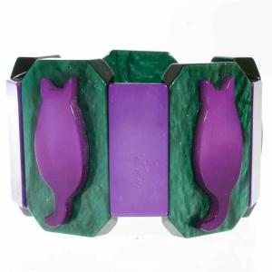bracelet chaton violet et emeraude