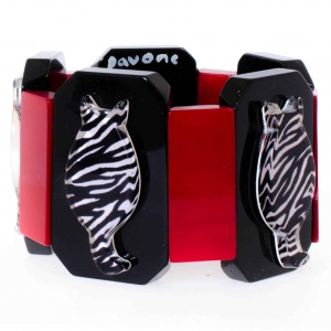 bracelet chaton zebre noir rouge