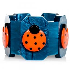 bracelet coccinelle plates orange et turquoise