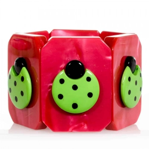 bracelet coccinelle plates vert et fuchsia
