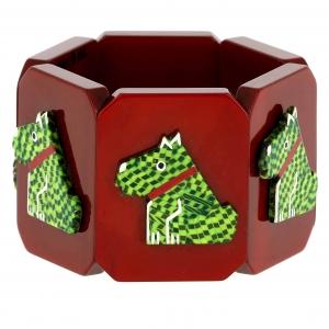 bracelet ric damiers verts et brique