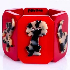 bracelet safari rouge et ecaille