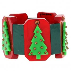 bracelet sapin de noel rouge et vert