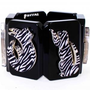 bracelet silhouette chat zebre noir 1