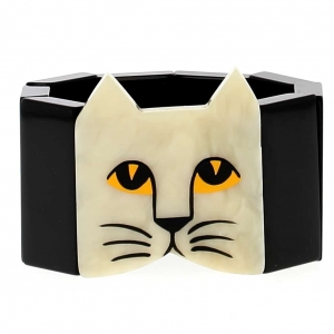 bracelet tete chat blanc noir 1