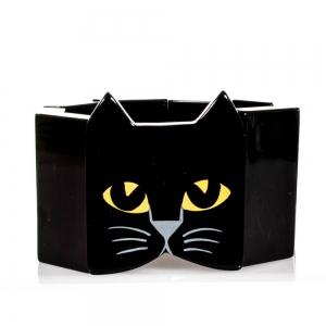 bracelet tete chat galalithe noir 1