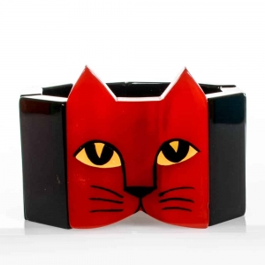 bracelet tete chat rouge noir 1