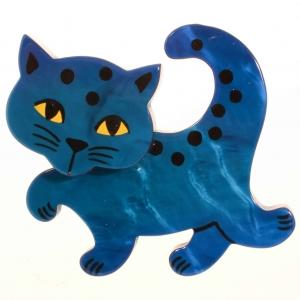 broche chat a pois bleu ocean