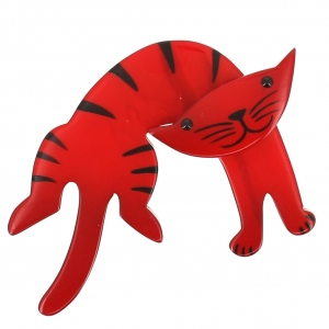broche chat anicet rouge