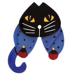 broche chat babouchka bleu