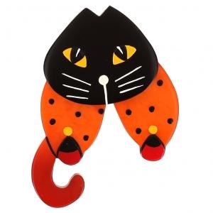broche chat babouchka orange