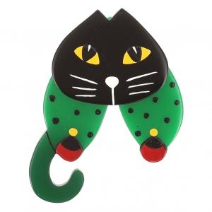 broche chat babouchka vert