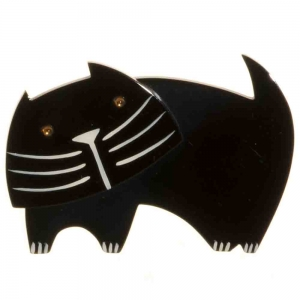 broche chat bandino noir