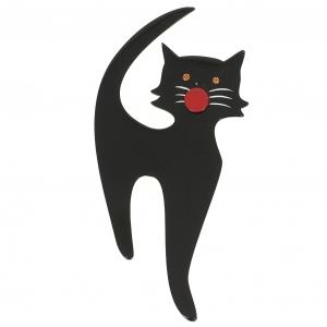 broche chat barbichou noir