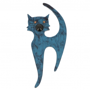 broche chat barbichou turquoise