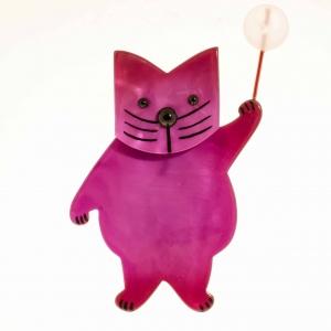 broche chat boule fuchsine scaled