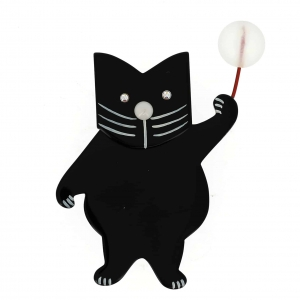 broche chat boule noir