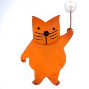 broche chat boule orange