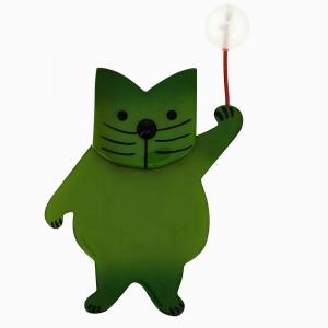 broche chat boule vert