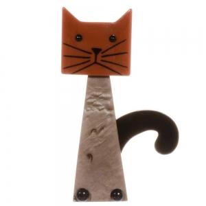 broche chat cafetiere beige caramel