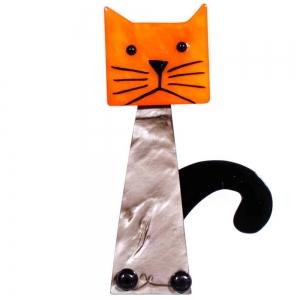 broche chat cafetiere beige et orange