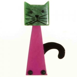 broche chat cafetiere fuchsia et vert