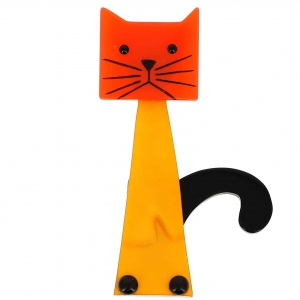 broche chat cafetiere jaune et orange