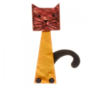 broche chat cafetiere ocre rouge beige