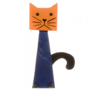 broche chat cafetiere orange bleu