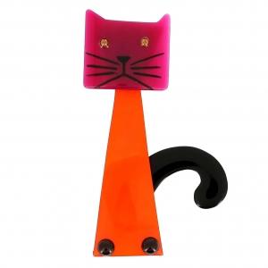 broche chat cafetiere orange et fuchsia
