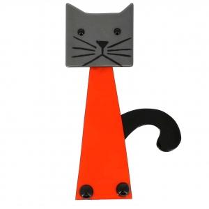 broche chat cafetiere orange et gris