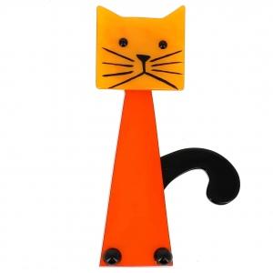 broche chat cafetiere orange et jaune