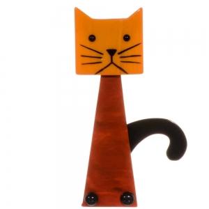broche chat cafetiere orange roux