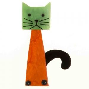 broche chat cafetiere roux et vert