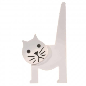 broche chat chaise blanc