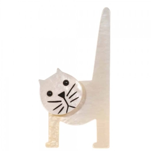 broche chat chaise blanc nacre