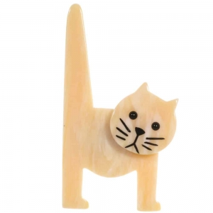 broche chat chaise ivoire