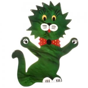 broche chat clown vert malachite